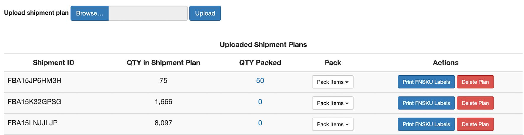 Shipment Plans